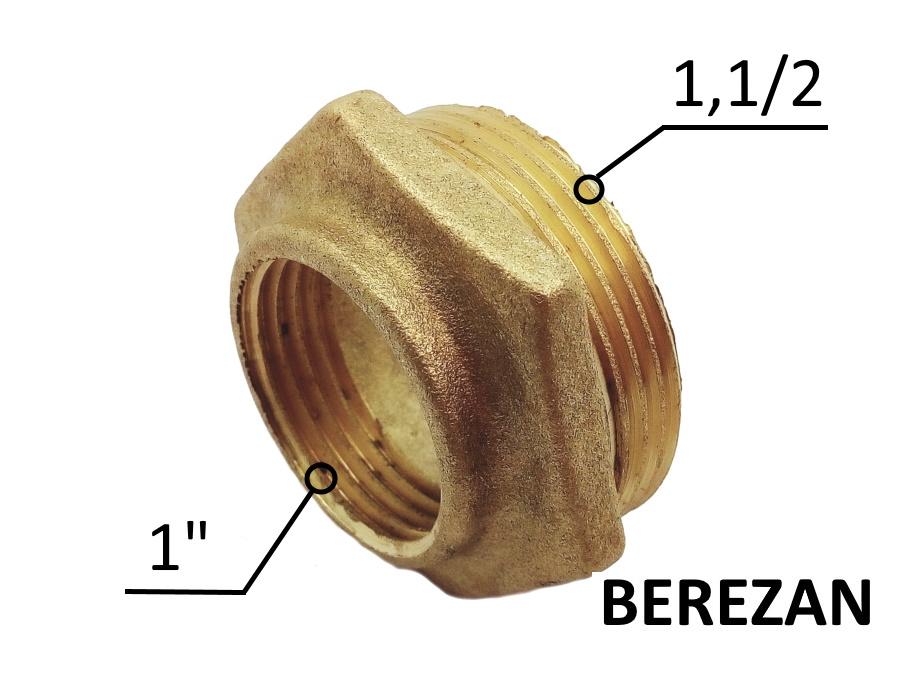Переходник Футорка 1.1/2н - 1в латунный усиленный