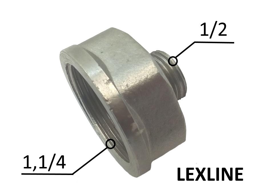 Переходник Лейка 1.1/4в - 1/2н - Никель LEXLINE