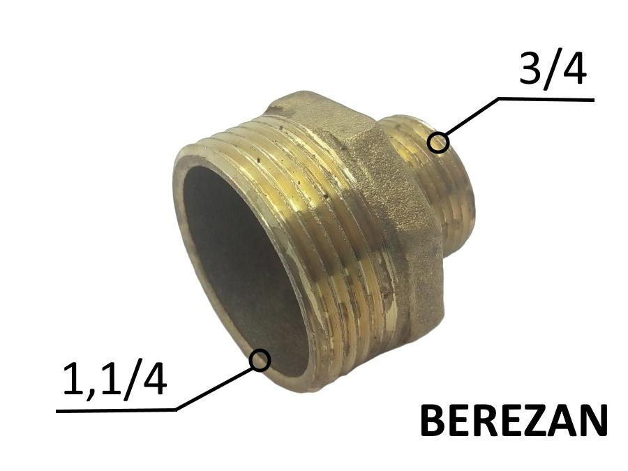 Переходник Ниппель 1.1/4н - 3/4н латунный усиленный