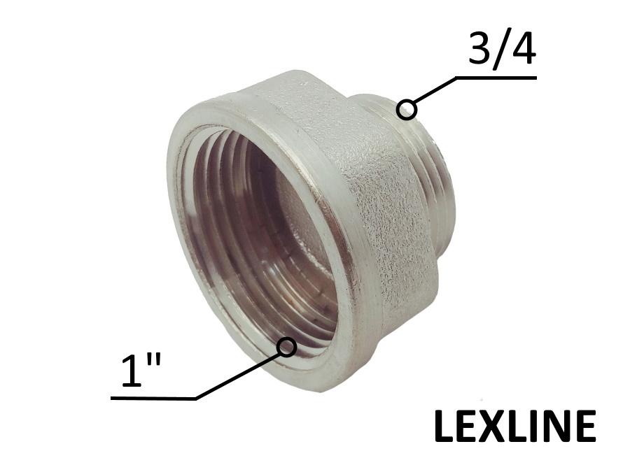 Переходник Лейка 1в - 3/4н - Никель LEXLINE