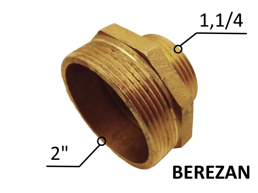 Переходник Ниппель 2н - 1.1/4н латунный усиленный