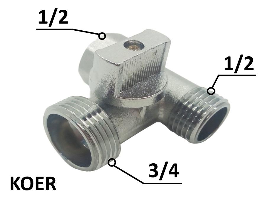 Кран приборный проходной 1/2-3/4-1/2 KOER (515)