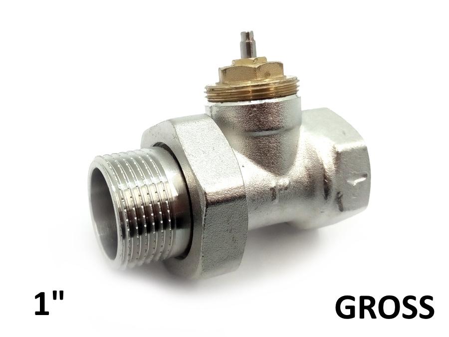 """Термостатический клапан 1"""" прямой Gross"""