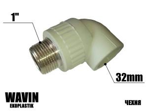 Колено с резьбой 32-1н WAVIN