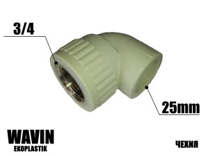Колено с резьбой 25-3/4в WAVIN