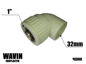 Колено с резьбой 32-1в WAVIN