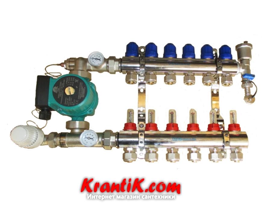 Коллекторная система Gross хром - х10 - с 1 воздухоотводом