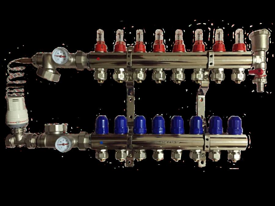Коллектор KOER латунь - х8 - с 1 воздухоотводом
