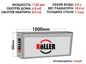 Радиатор стальной KELLER тип 22 300х1000 боковое подключение