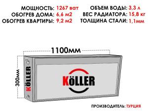 Радиатор стальной KELLER тип 22 300х1100 боковое подключение