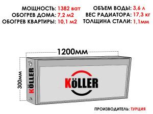 Радиатор стальной KELLER тип 22 300х1200 боковое подключение