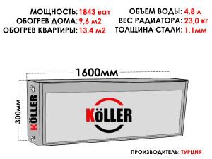 Радиатор стальной KELLER тип 22 300х1600 боковое подключение