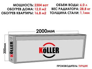 Радиатор стальной KELLER тип 22 300х2000 боковое подключение
