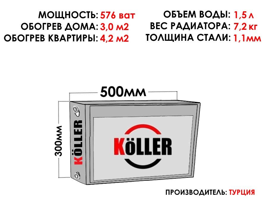 Радиатор стальной KELLER тип 22 300х500 боковое подключение
