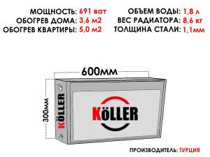 Радиатор стальной KELLER тип 22 300х600 боковое подключение