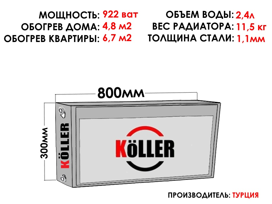 Радиатор стальной KELLER тип 22 300х800 боковое подключение