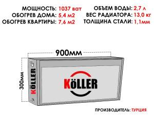 Радиатор стальной KELLER тип 22 300х900 боковое подключение