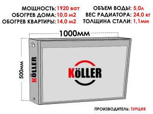 Радиатор стальной KELLER тип 22 500х1000 боковое подключение