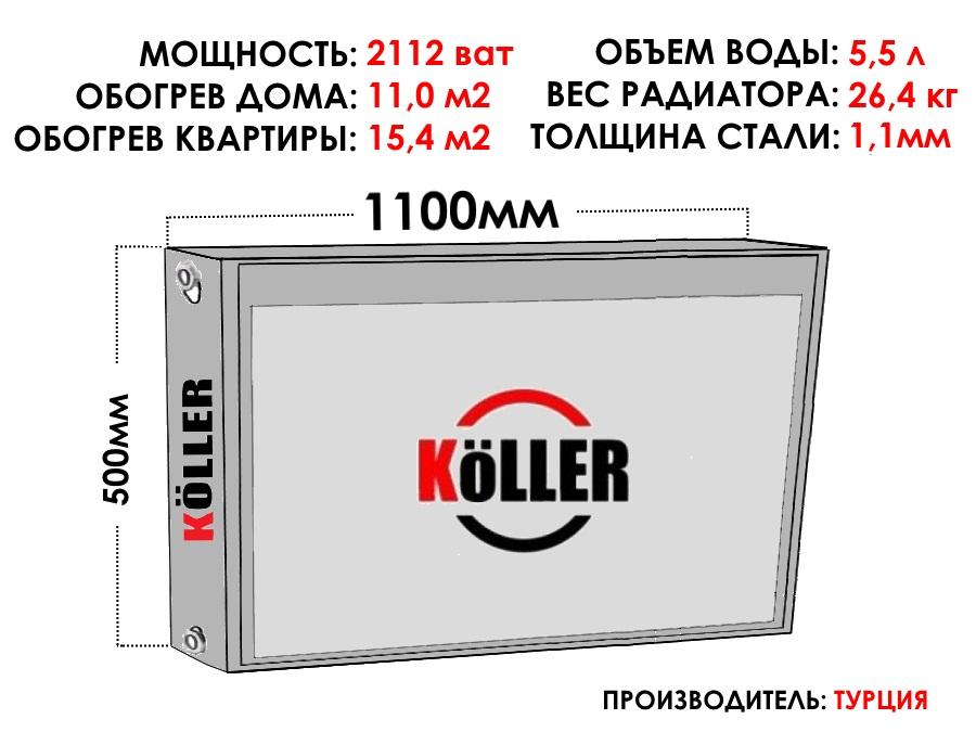Радиатор стальной KELLER тип 22 500х1100 боковое подключение