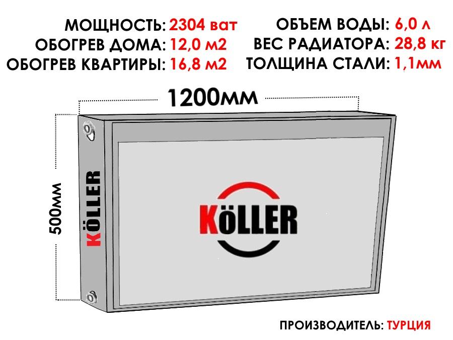 Радиатор стальной KELLER тип 22 500х1200 боковое подключение