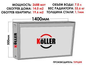 Радиатор стальной KELLER тип 22 500х1400 боковое подключение