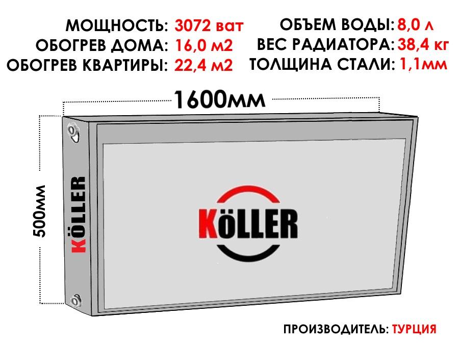 Радиатор стальной KELLER тип 22 500х1600 боковое подключение