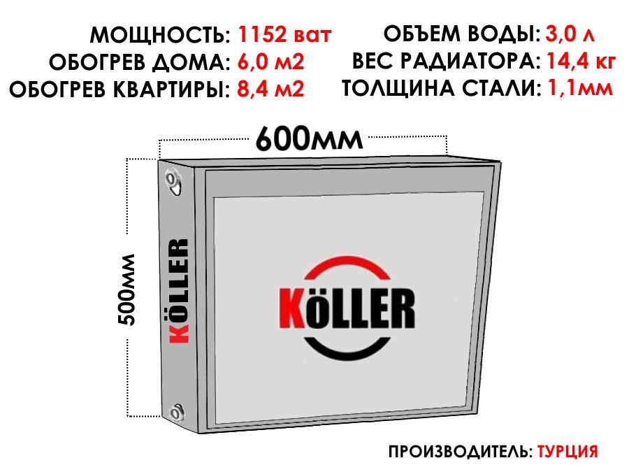 Радиатор стальной KELLER тип 22 500х600 боковое подключение