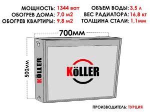 Радиатор стальной KELLER тип 22 500х700 боковое подключение