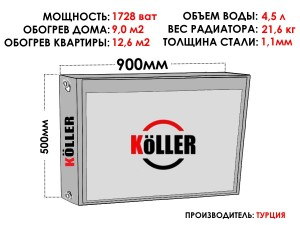 Радиатор стальной KELLER тип 22 500х900 боковое подключение