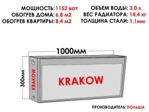 Радиатор стальной KRAKOW тип 22 300х1000 боковое подключение