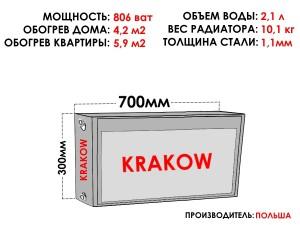 Радиатор стальной KRAKOW тип 22 300х700 боковое подключение