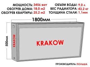 Радиатор стальной KRAKOW тип 22 500х1800 боковое подключение